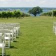 Wedding ceremony setup in the vineyard.