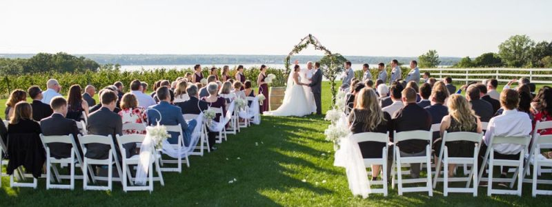 wedding with lake view